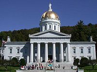 The gold leaf dome of the neoclassical Vermont State House (Capitol) in Montpelier