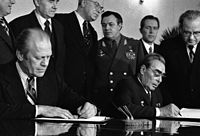 Ford meets with Soviet leader Leonid Brezhnev to sign a joint communiqué on the SALT treaty during the Vladivostok Summit, November 1974