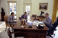 Cheney, Rumsfeld and Ford in the Oval Office, 1975