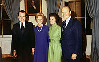 Gerald and Betty Ford with the President and First Lady Pat Nixon after President Nixon nominated Ford to be vice president, October 13, 1973.