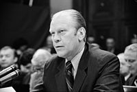 President Ford appears at a House Judiciary Subcommittee hearing in reference to his pardon of Richard Nixon