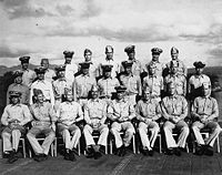 The Gunnery officers of, 1943. Ford is second from the right, in the front row.