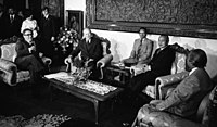 Indonesian President Suharto with Ford and Kissinger in Jakarta on December 6, 1975, one day before the Indonesian invasion of East Timor.
