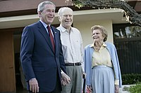 President George W. Bush with Ford and his wife Betty on April 23, 2006