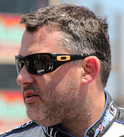 Tony Stewart (pictured in 2015) fractured the tip of his right scapula bone in a heavy accident on the 33rd lap.