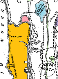 Detail from an 1896 map, showing Marble Hill (pink) as an island