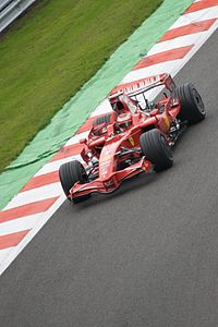 Räikkönen at the 2008 Belgian Grand Prix, where he crashed on the penultimate lap after a duel with Lewis Hamilton.
