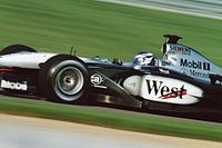 Räikkönen at the United States Grand Prix in 2002.