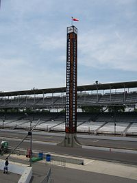 The pylon from 1994 until the 2014 SVRA vintage races in June. It was replaced by a digital video screen for the 2014 Brickyard 400.
