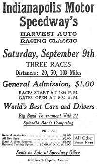 """Advertisement for an Indianapolis Motor Speedway """"Harvest Classic"""" race"""