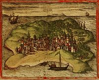 A 1572 depiction of the city of Kilwa from Georg Braun and Frans Hogenberg's atlas Civitates orbis terrarum.