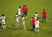 Burkina Faso national football team in white during a match