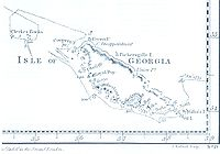 James Cook's 1777 south-up map of South Georgia.