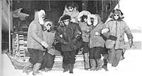 First women at the South Pole are Pam Young, Jean Pearson, Lois Jones, Eileen McSaveney, Kay Lindsay and Terry Tickhill.