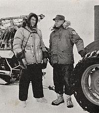 Edmund Hillary (left) with Rear-Admiral George J. Dufek at Scott Base just before the Commonwealth Trans-Antarctic Expedition's departure from the base.