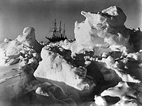 As time wore on it became more and more evident that the ship was doomed by Frank Hurley. (The Endurance trapped in pack ice.)
