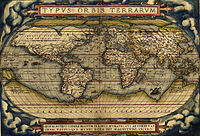 In 1570 a rudimentary map by Ortelius showed the imagined link between the proposed continent of Antarctica and South America. Note also the proposed landmasses surrounding the North Pole.