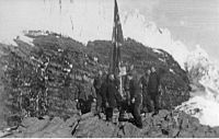 Norwegian expedition landing on the Peter I Island in 1929.