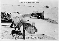 Sir Hubert Wilkins pioneered the exploration of the Arctic regions by aircraft. Pictured, his plane and encampment as part of the Detroit Arctic Expedition, 1926.