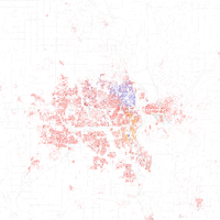 Map of racial distribution in Omaha, 2010 U.S. Census. Each dot is 25 people: White, Black, Asian , Hispanic or Other (yellow)