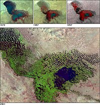 Lake Chad in a 2001 satellite image. On the top, the changes from 1973 to 1997 are shown, with the lake shrinking.
