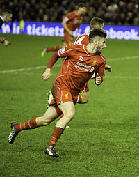 Lallana playing for Liverpool in 2014