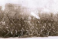 Soldiers and officers of the army of the Azerbaijan Democratic Republic shortly after the Battle of Baku.