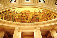 Painting Inside Umaid Bhavan Palace depicting a Rajput War (probably with the Mughals) with the Mehrangarh fort in the backdrop