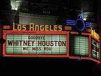 """""""We miss you"""" message at the Los Angeles Theatre"""