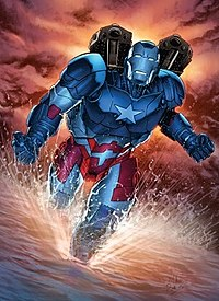 James Rhodes as Iron Patriot. Art by Mike Perkins.