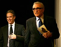 Jon Stewart with Scorsese at the Peabody Awards in 2006