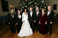 Leon Fleisher, Martin Scorsese, Diana Ross, Brian Wilson and Steve Martin with President George W. Bush and Laura Bush in 2007