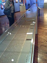 The scroll, exhibited at the Boott Cotton Mills Museum in 2007