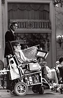 Hawking at an ALS convention in San Francisco in the 1980s