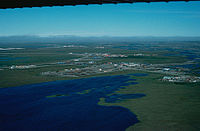 Aerial view of infrastructure at the Prudhoe Bay Oil Field