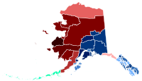 Map of the largest racial/ethnic group by borough. Red indicates Native American, blue indicates non-Hispanic white, and green indicates Asian. Darker shades indicate a higher proportion of the population.