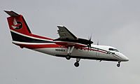 A Bombardier Dash 8, operated by Era Alaska, on approach to Ted Stevens Anchorage International Airport