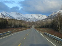 The Sterling Highway, near its intersection with the Seward Highway