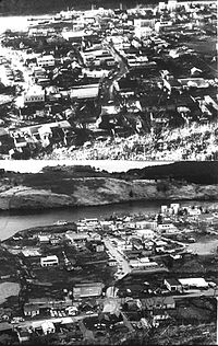 Kodiak, before and after the tsunami which followed the Good Friday earthquake in 1964, destroying much of the townsite