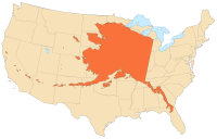 Alaska's size compared with the 48 contiguous states (Albers equal-area conic projection)