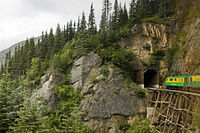 The White Pass and Yukon Route traverses rugged terrain north of Skagway near the Canada–US border.