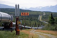 The Trans-Alaska Pipeline transports oil, Alaska's most financially important export, from the North Slope to Valdez. The heat pipes in the column mounts are pertinent, since they disperse heat upwards and prevent melting of permafrost.