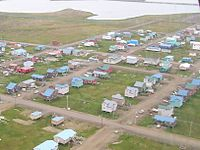 """Utqiagvik (Browerville neighborhood near Eben Hopson Middle School shown), known colloquially for many years by the nickname """"Top of the World"""", is the northernmost city in the United States."""