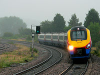 An East Midlands Trains service approaching Wellingborough on the Midland Main Line