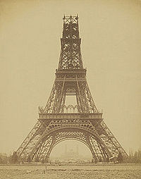 The Eiffel Tower, under construction in November 1888, startled Parisians – and the world – with its modernity.