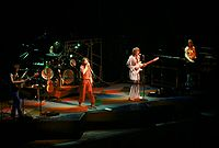 Prog-rock band Yes performing in concert in Indianapolis in 1977