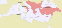 Map of the Byzantine Empire in AD 1025 on the eve of the Christian East-West Schism.