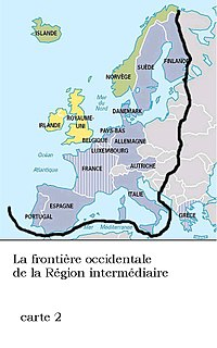 Geopolitical Occident of Europe, according to the Intermediate Region theory of Dimitri Kitsikis
