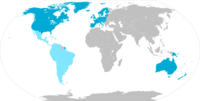 The Western world based-on Samuel P. Huntington's 1996 Clash of Civilizations. Latin America, depicted in turquoise, could be considered a sub-civilization within Western civilization, or a distinct civilization intimately related to the West and descended from it. For political consequences, the second option is the most adequate.