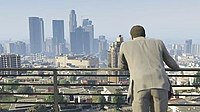 Los Santos, the city featured in the game's open world. Reviewers praised its design and similarity to Los Angeles. The departure from Grand Theft Auto IV Liberty City was also well received.